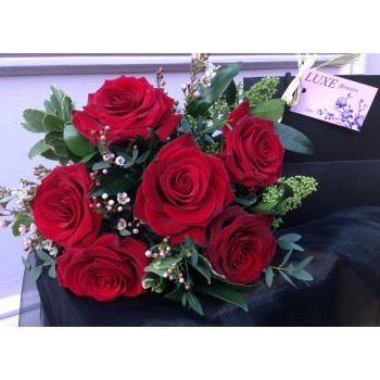Charming Romance Short Stemmed Red Rose Posy